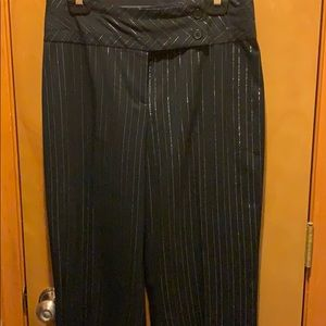sunny leigh Pants - Black and silver Pinstriped Pant